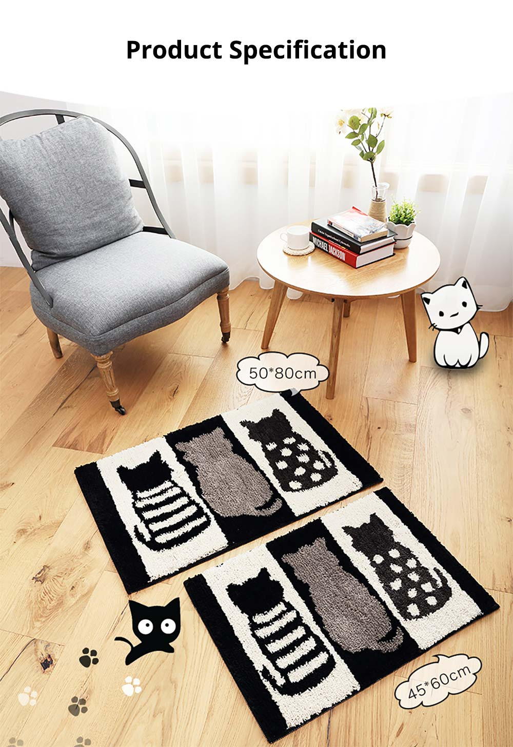 Chic Contrast Color Black And White Carpet Doormat Area Rug Fluffy Shaggy Anti-Skid Floor Mats 9