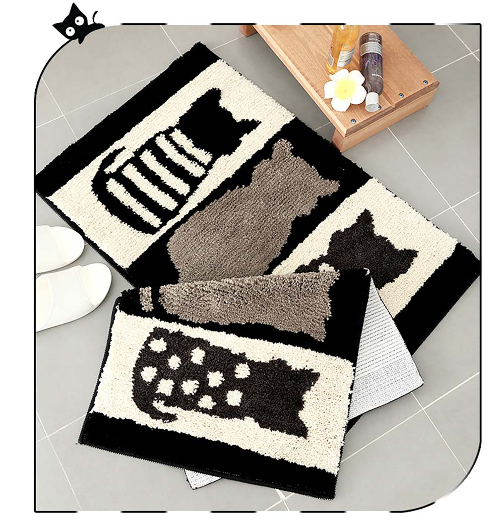 Chic Contrast Color Black And White Carpet Doormat Area Rug Fluffy Shaggy Anti-Skid Floor Mats 8