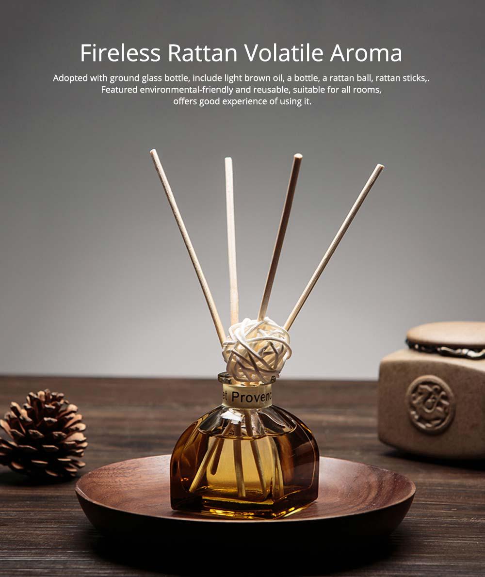 Home Perfume Diffuser - Rattan Ball Volatile Aromatic No Fire Safe Aromatherapy, Ground Glass Bottle, 50ml 0