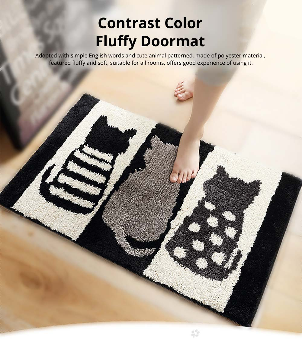 Chic Contrast Color Black And White Carpet Doormat Area Rug Fluffy Shaggy Anti-Skid Floor Mats 0