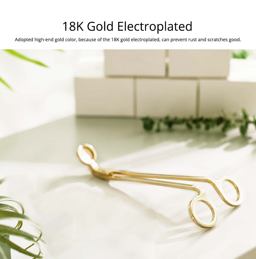 Candle Scissors - Electroplated 18K Gold Candle Wick Oil Lamp Stainless Steel Scissors Trim Trimmer Cutter Snuffers 9