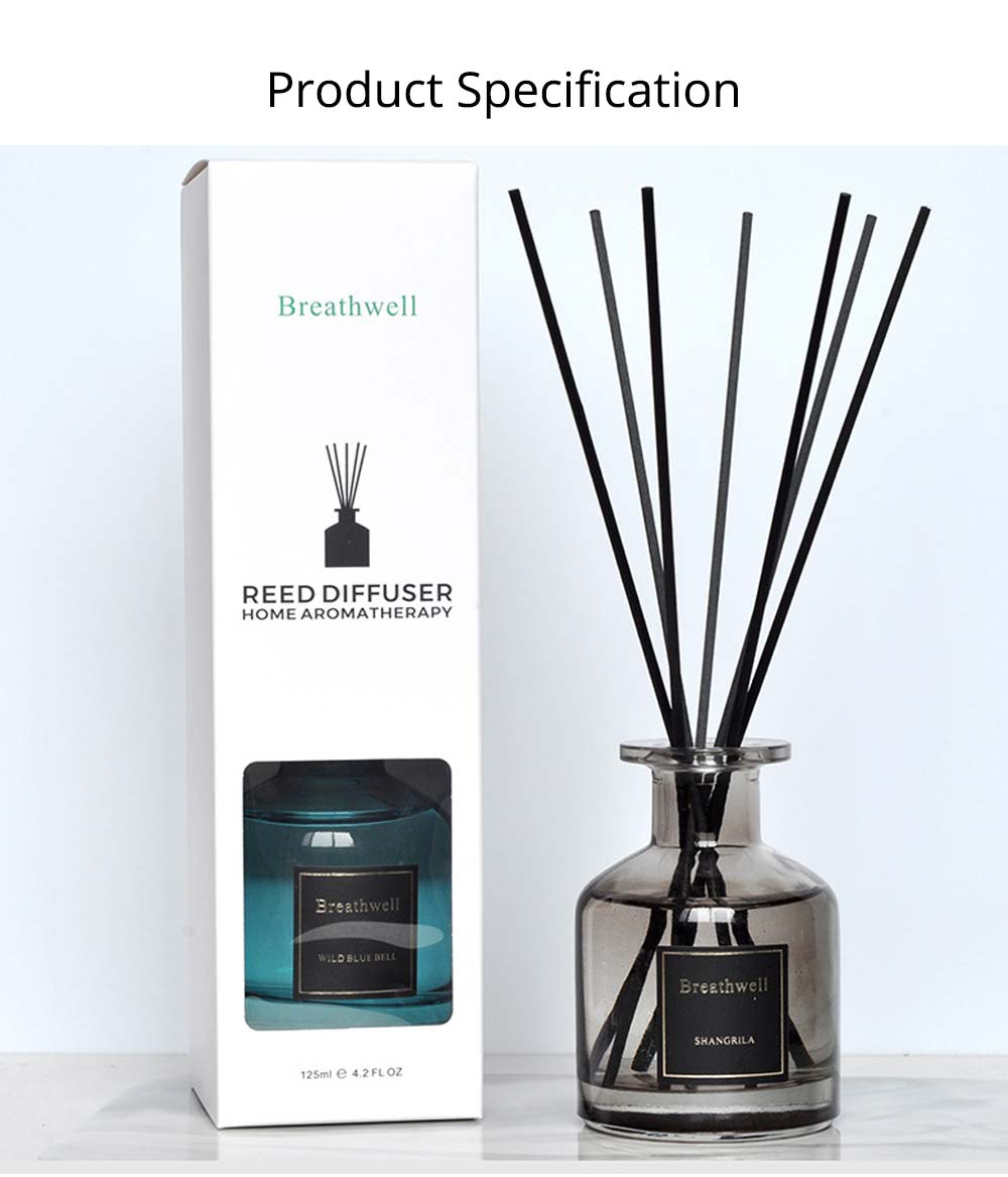 No-Fire Aroma Diffuser Home Fragrance - High-End Rattan Sticks Aromatherapy with Colorful Glass Bottle, 125ml 5