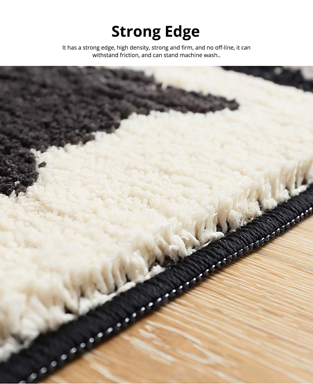 Chic Contrast Color Black And White Carpet Doormat Area Rug Fluffy Shaggy Anti-Skid Floor Mats 4