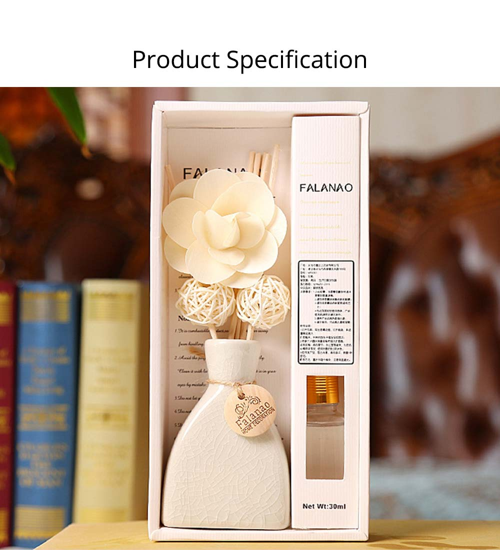 Volatile Aroma - Vintage Rattan Aromatic Wood Flower Home Aromatherapy, White Ceramic Bottle, 30ml 16