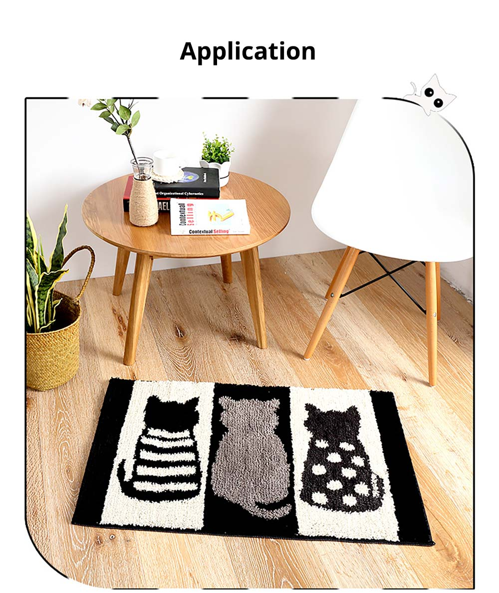 Chic Contrast Color Black And White Carpet Doormat Area Rug Fluffy Shaggy Anti-Skid Floor Mats 6