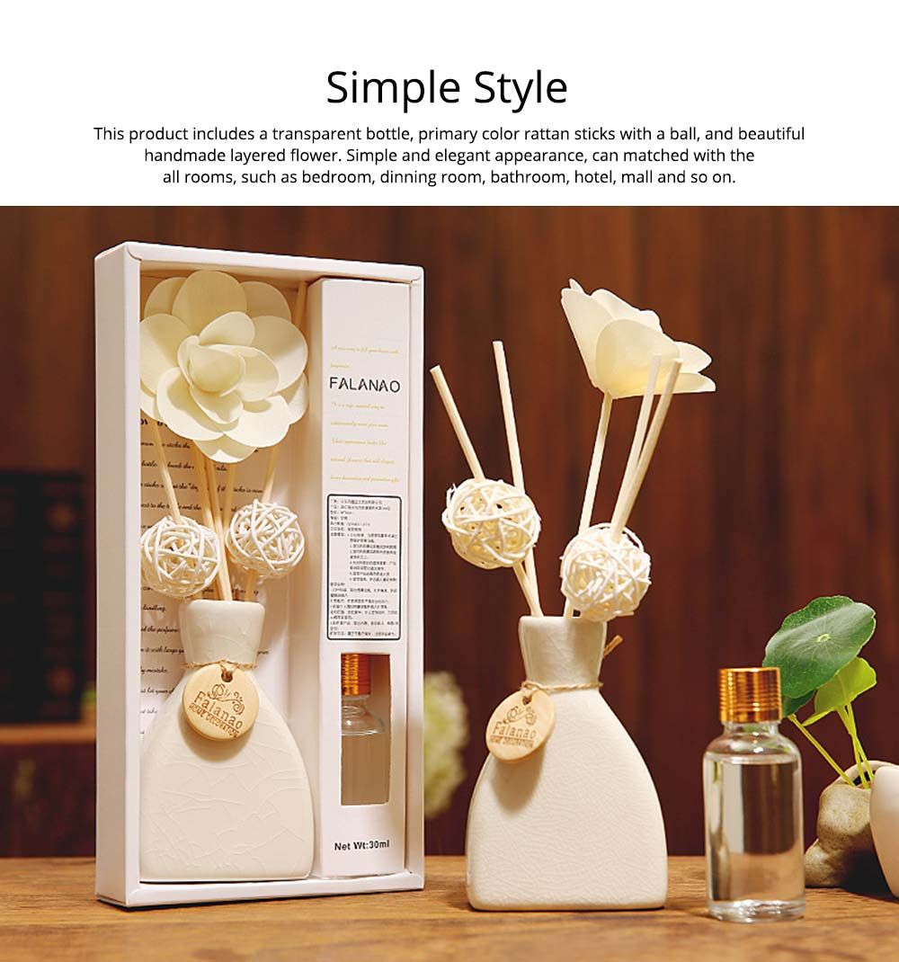 Volatile Aroma - Vintage Rattan Aromatic Wood Flower Home Aromatherapy, White Ceramic Bottle, 30ml 15