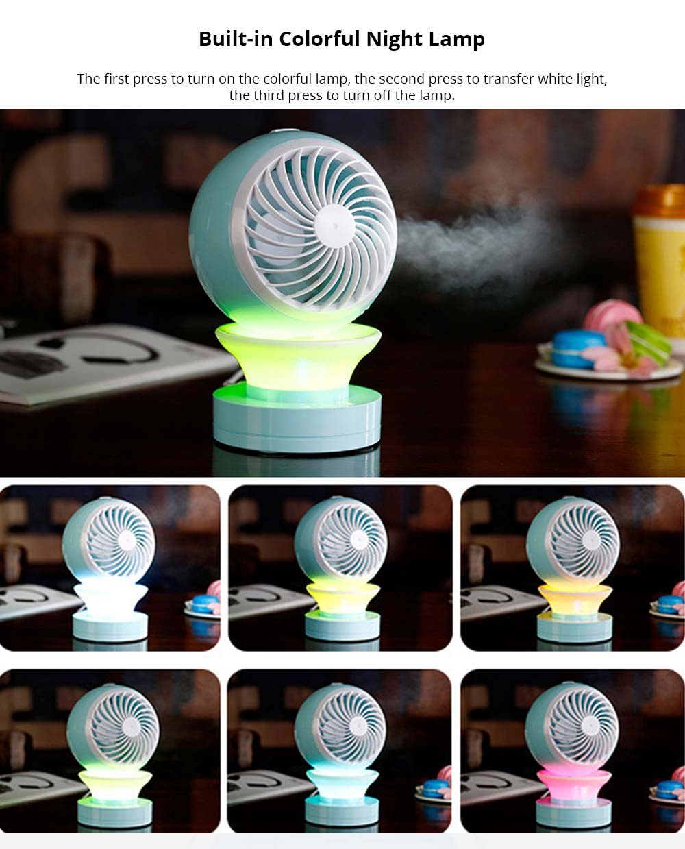 Mini Air Conditioning Fan - Portable USB Mini Desktop Humidifier With Built-in LED Night Lamp 9