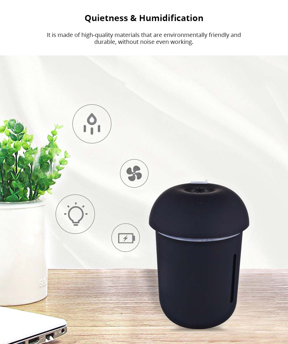 Mini Air Humidifier for Home Bedroom Office, Durable 3 In 1 Battery Mushroom Desktop Ultrasonic Aroma Diffuser 1