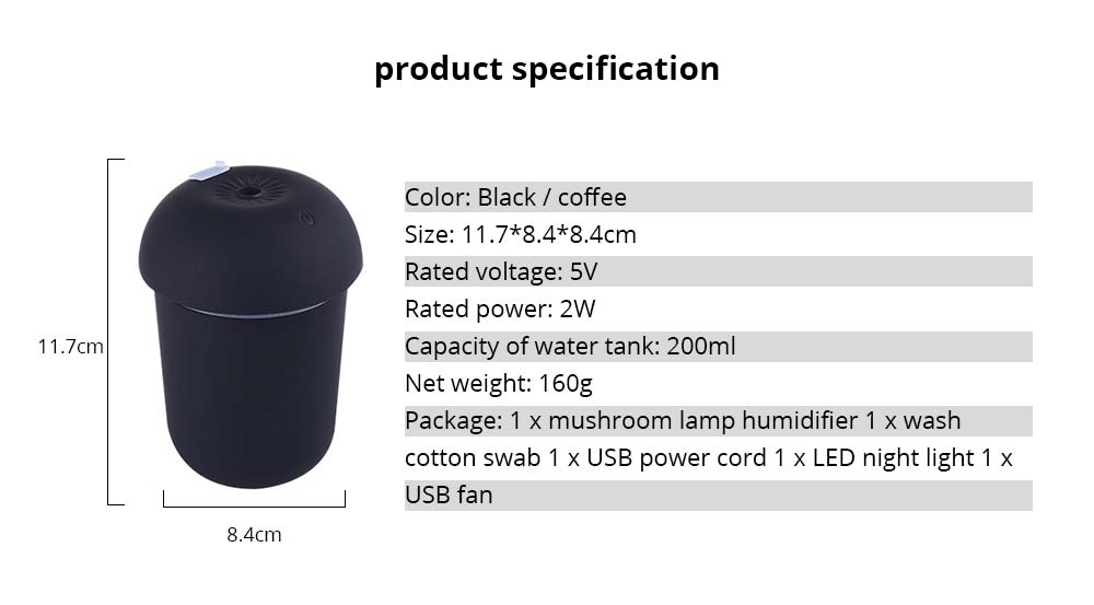 Mini Air Humidifier for Home Bedroom Office, Durable 3 In 1 Battery Mushroom Desktop Ultrasonic Aroma Diffuser 6