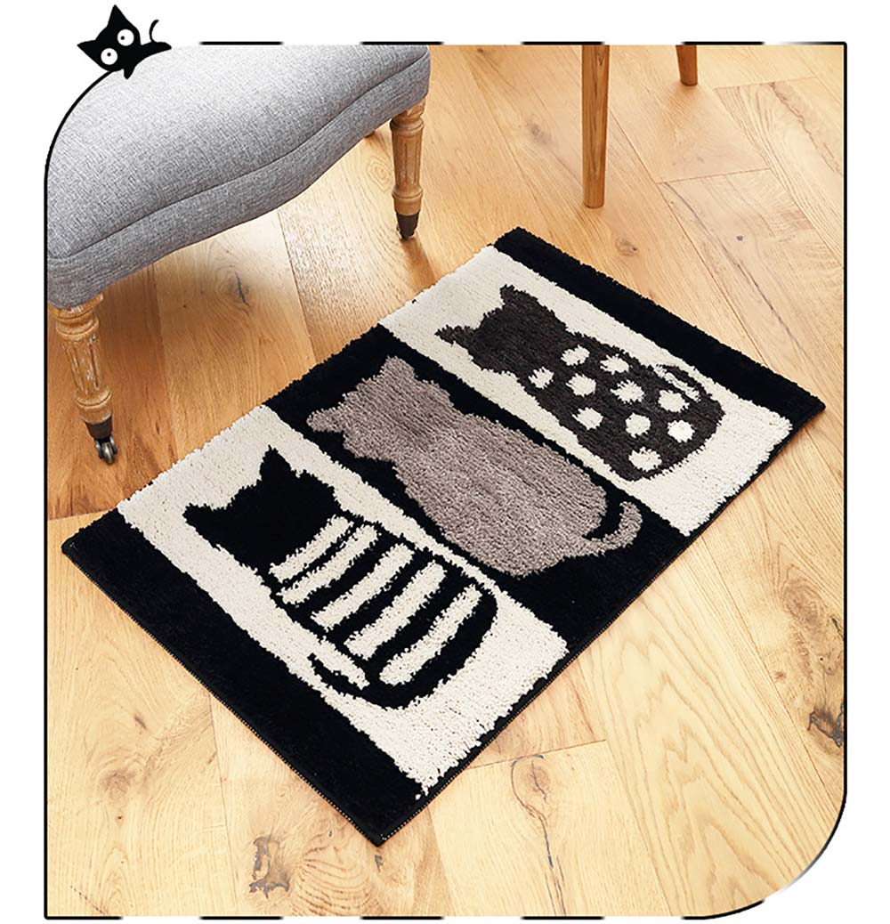 Chic Contrast Color Black And White Carpet Doormat Area Rug Fluffy Shaggy Anti-Skid Floor Mats 7
