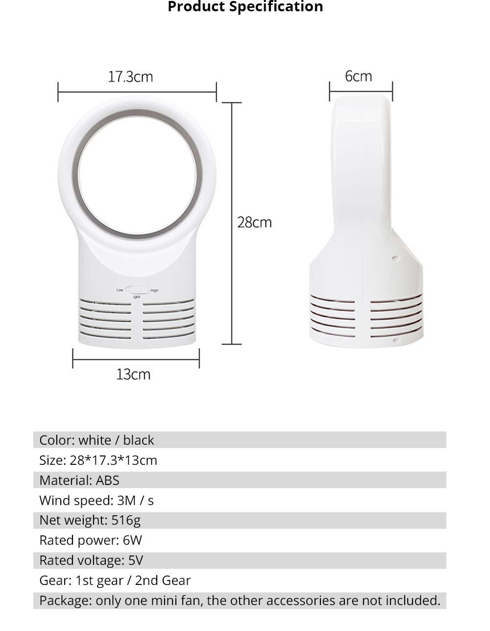 Mini Bladeless Fan - Travel Handy Air Cooler, USB Rechargeable Portable Desktop Air Multiplier 7