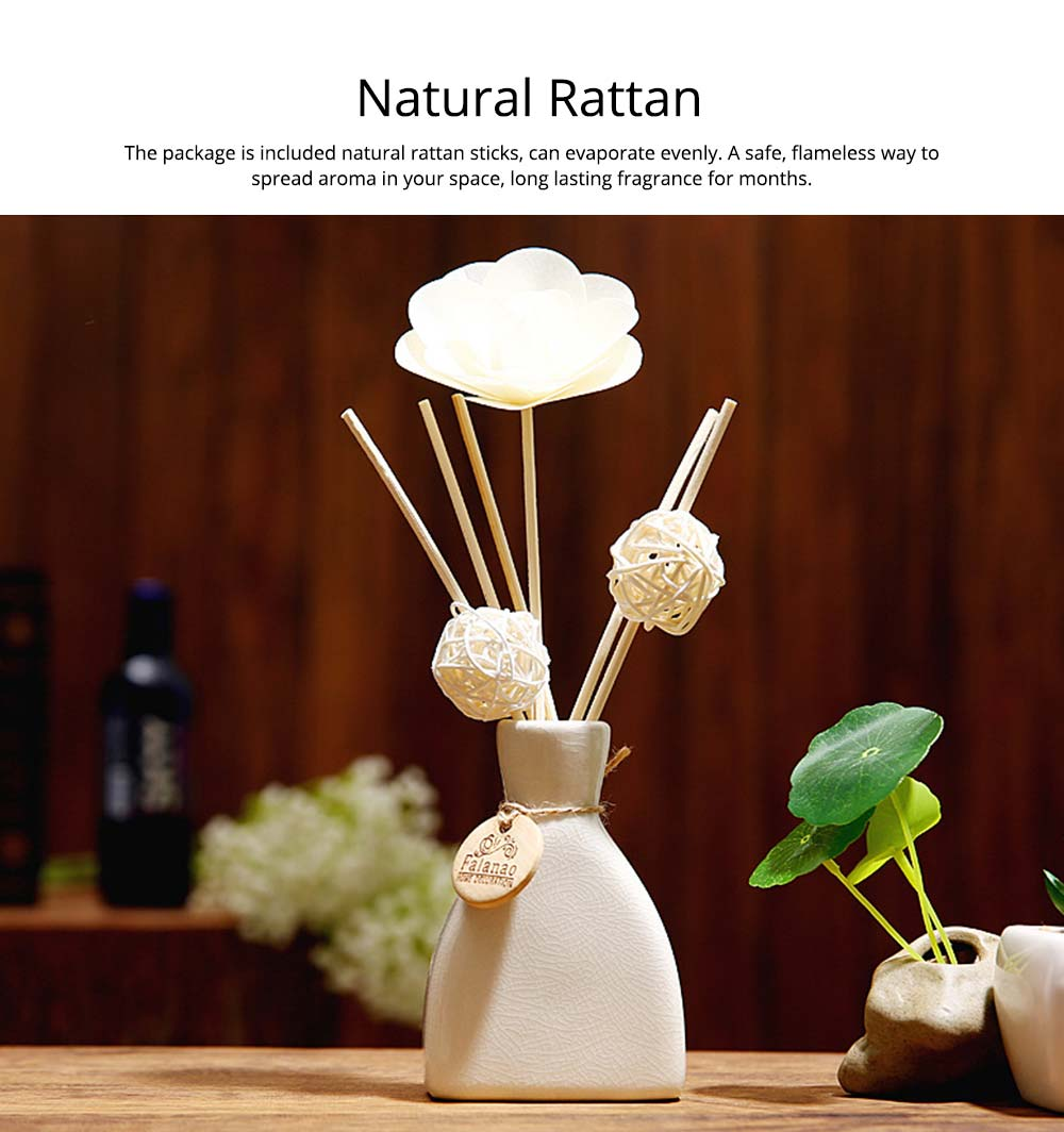 Volatile Aroma - Vintage Rattan Aromatic Wood Flower Home Aromatherapy, White Ceramic Bottle, 30ml 10