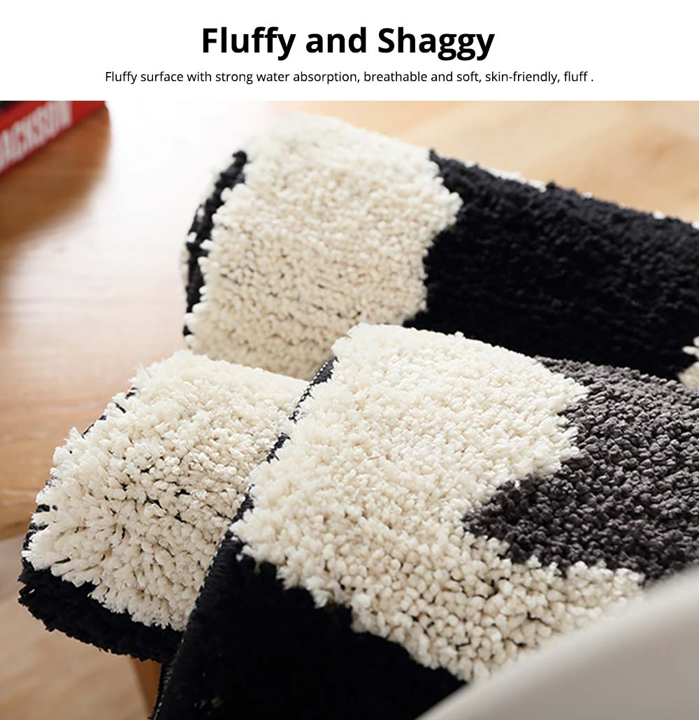 Chic Contrast Color Black And White Carpet Doormat Area Rug Fluffy Shaggy Anti-Skid Floor Mats 1