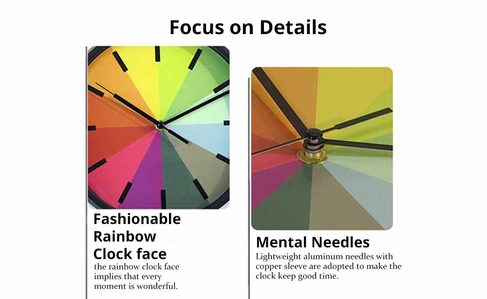 Rainbow Wall Clock - Modern Design Silence Round Clock 1