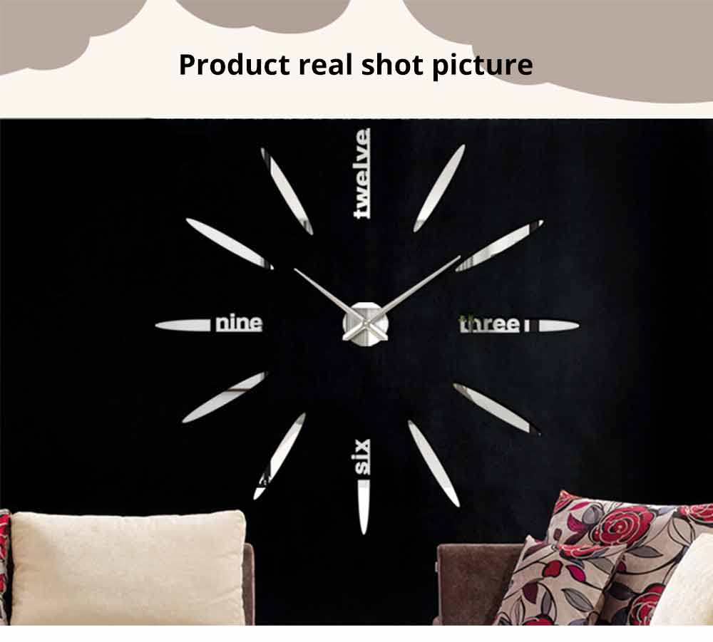 Creative DIY Wall Clock, Stylish Wall Clock With Large Number And Acrylic Mirror 8
