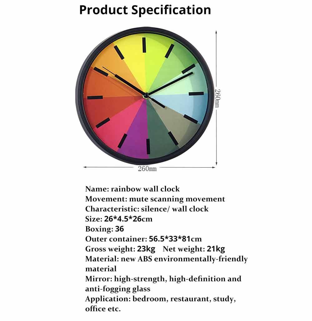 Rainbow Wall Clock - Modern Design Silence Round Clock 10