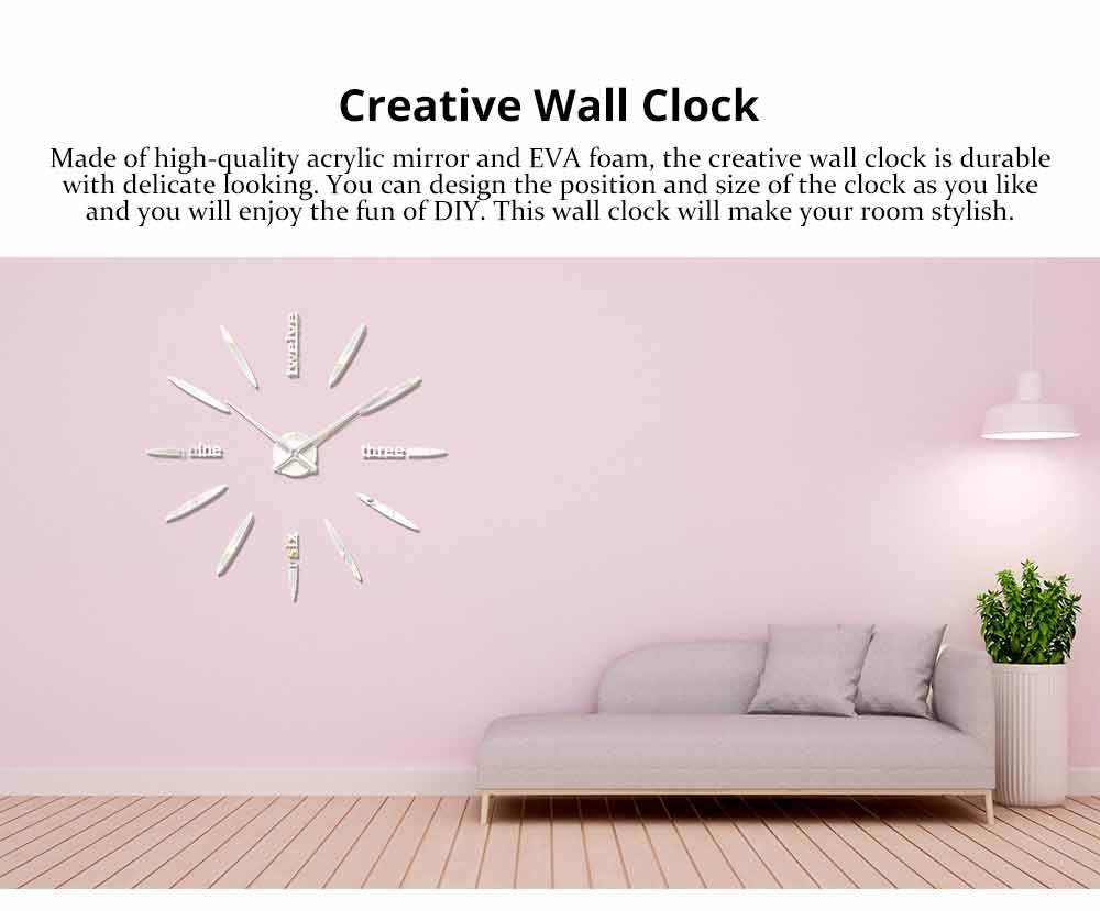 Creative DIY Wall Clock, Stylish Wall Clock With Large Number And Acrylic Mirror 0