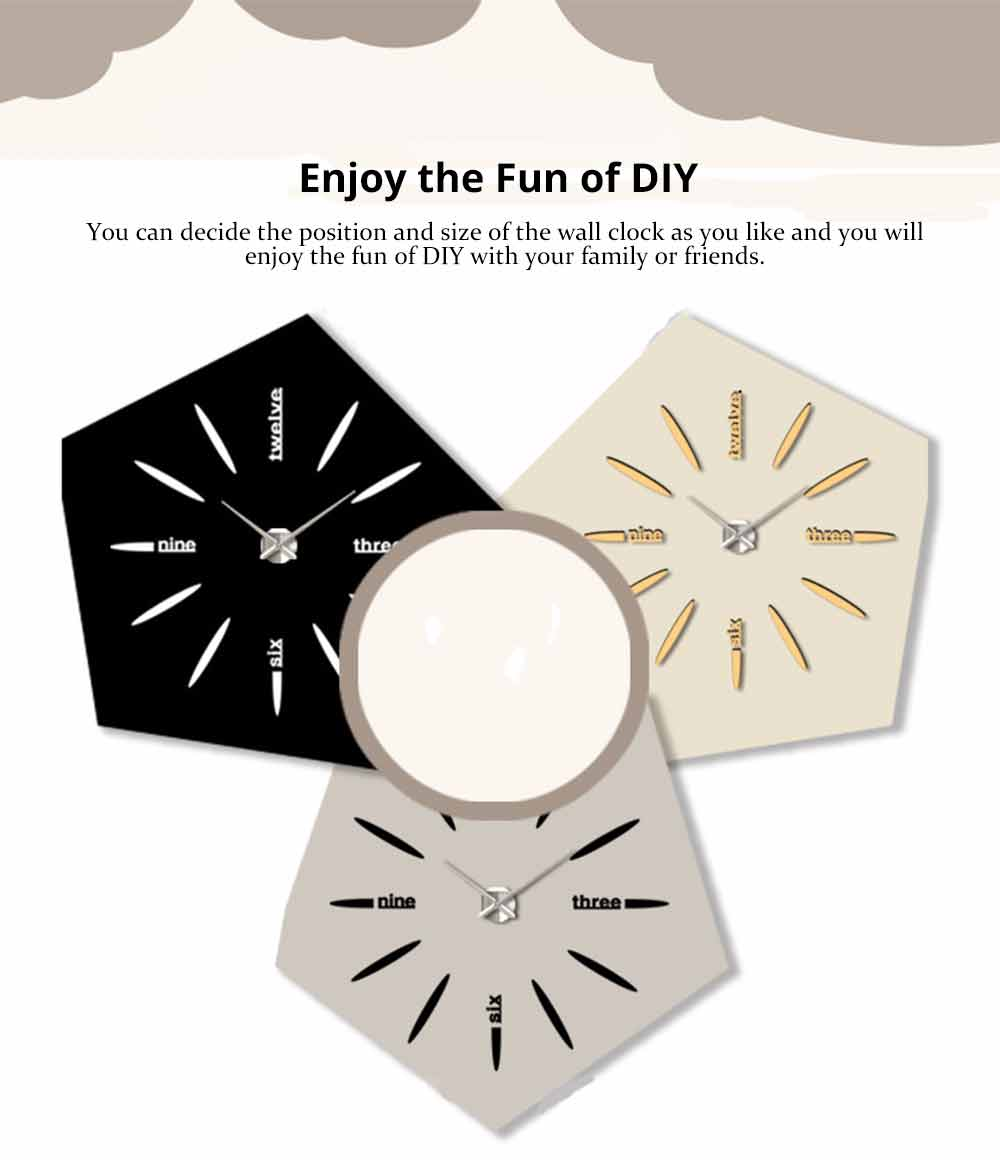 Creative DIY Wall Clock, Stylish Wall Clock With Large Number And Acrylic Mirror 7