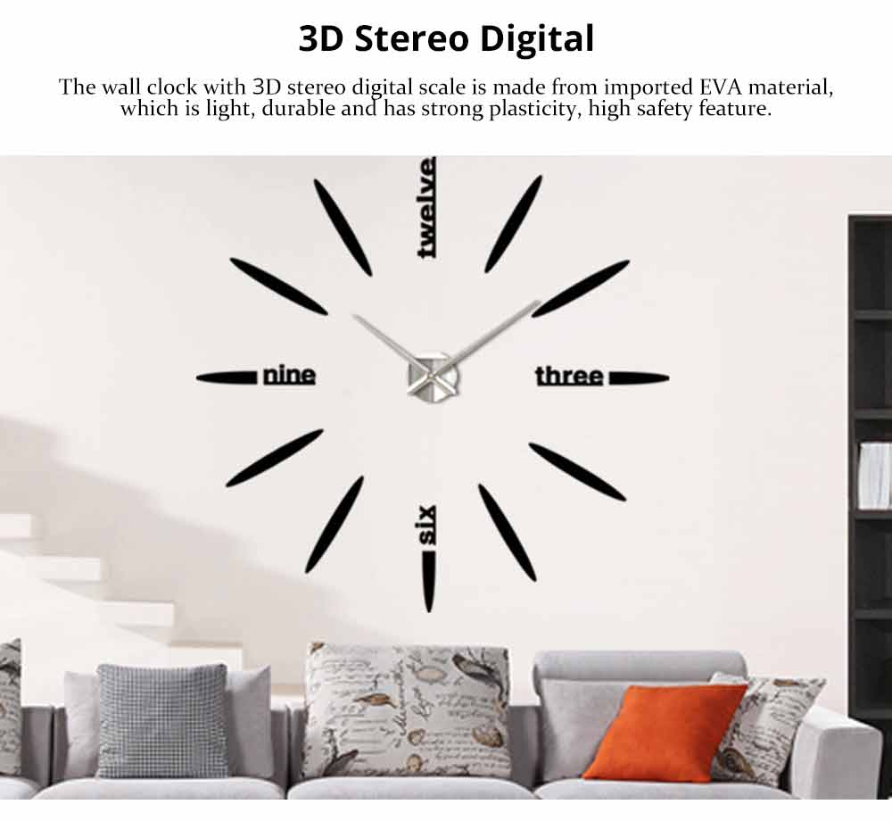 Creative DIY Wall Clock, Stylish Wall Clock With Large Number And Acrylic Mirror 1