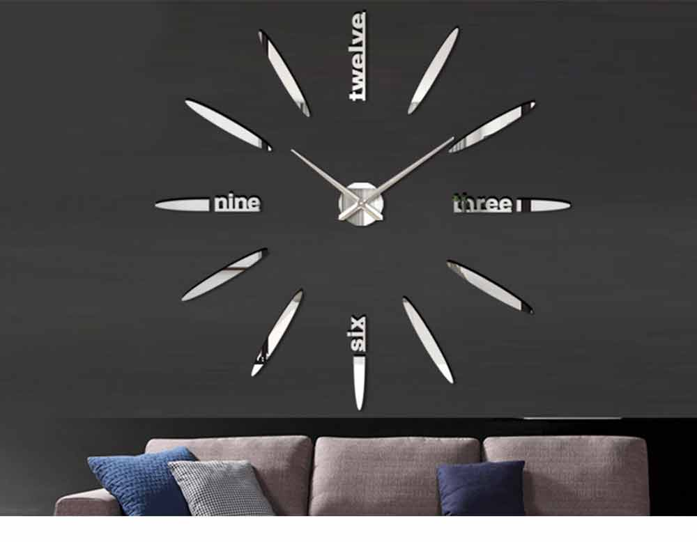 Creative DIY Wall Clock, Stylish Wall Clock With Large Number And Acrylic Mirror 10