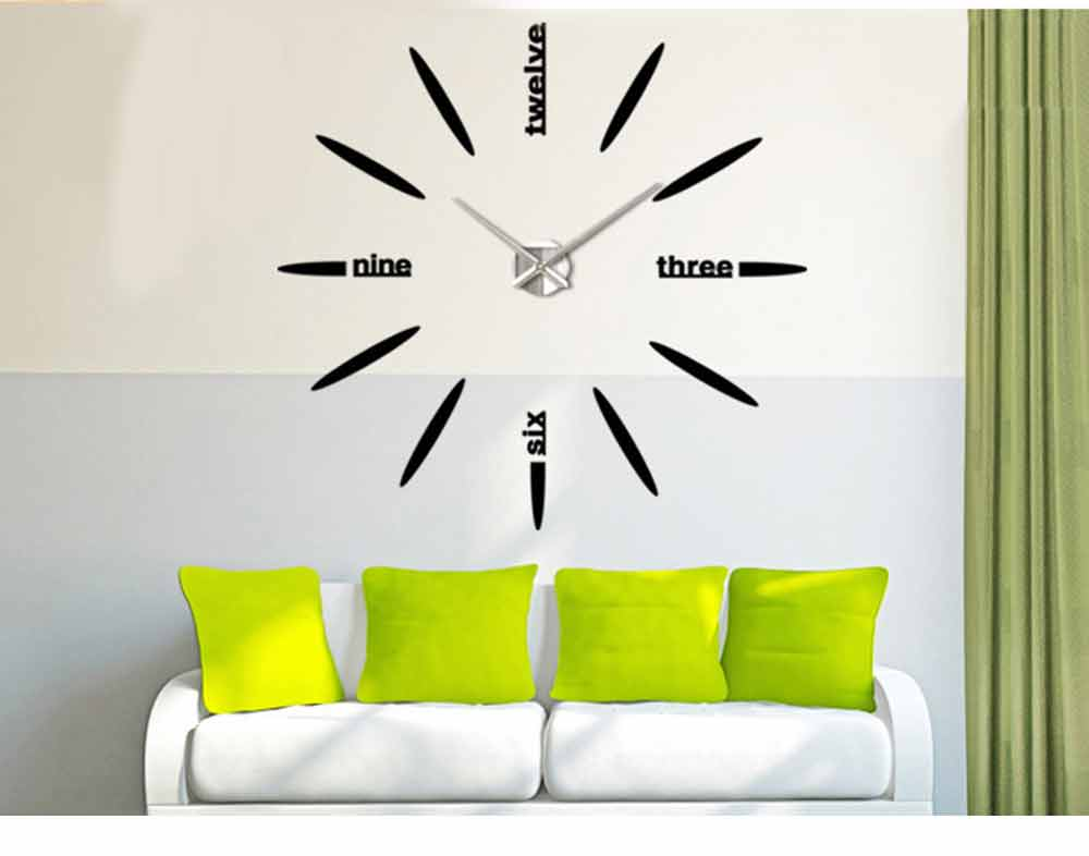 Creative DIY Wall Clock, Stylish Wall Clock With Large Number And Acrylic Mirror 9