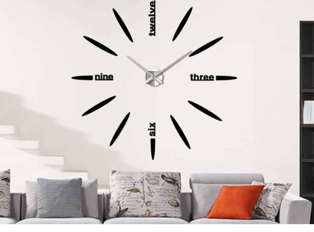 Creative DIY Wall Clock, Stylish Wall Clock With Large Number And Acrylic Mirror 11