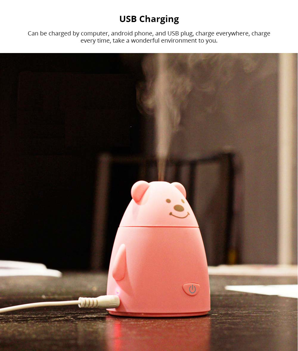 Electric Aroma Diffuser - Cute Cartoon Bear Mini Purifier Vehicle Humidifier, USB Charging 9