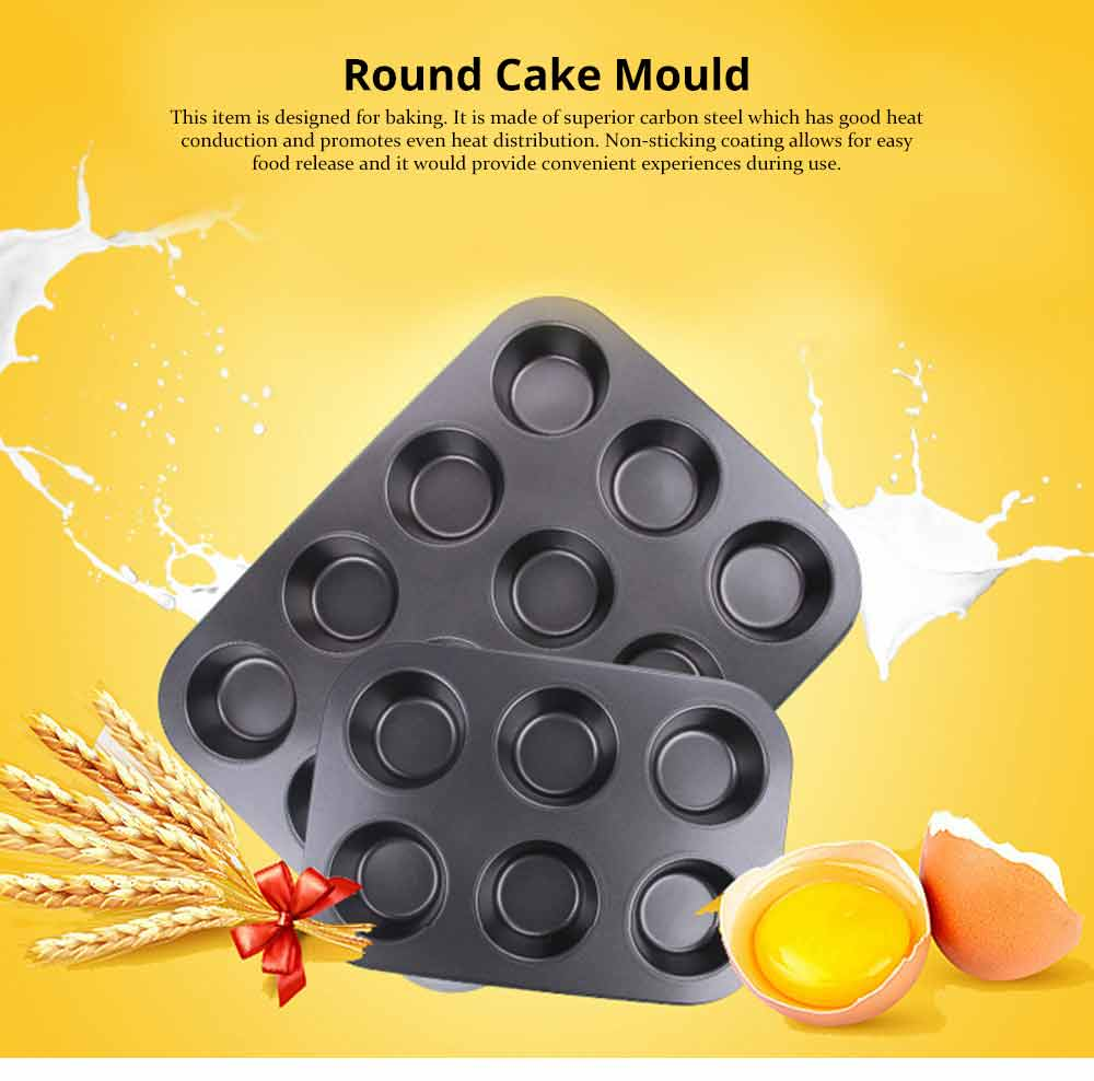Nonstick Muffin Baking Pan Tart Mold, Durable Round Cake Mould 0