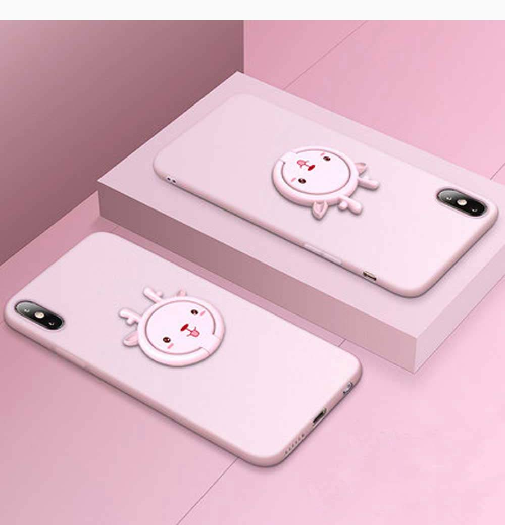 Back Cover for iPhone with Magnetic Ring, Cute Ultra-thin Soft Silicone iPhone Case with Holder 15