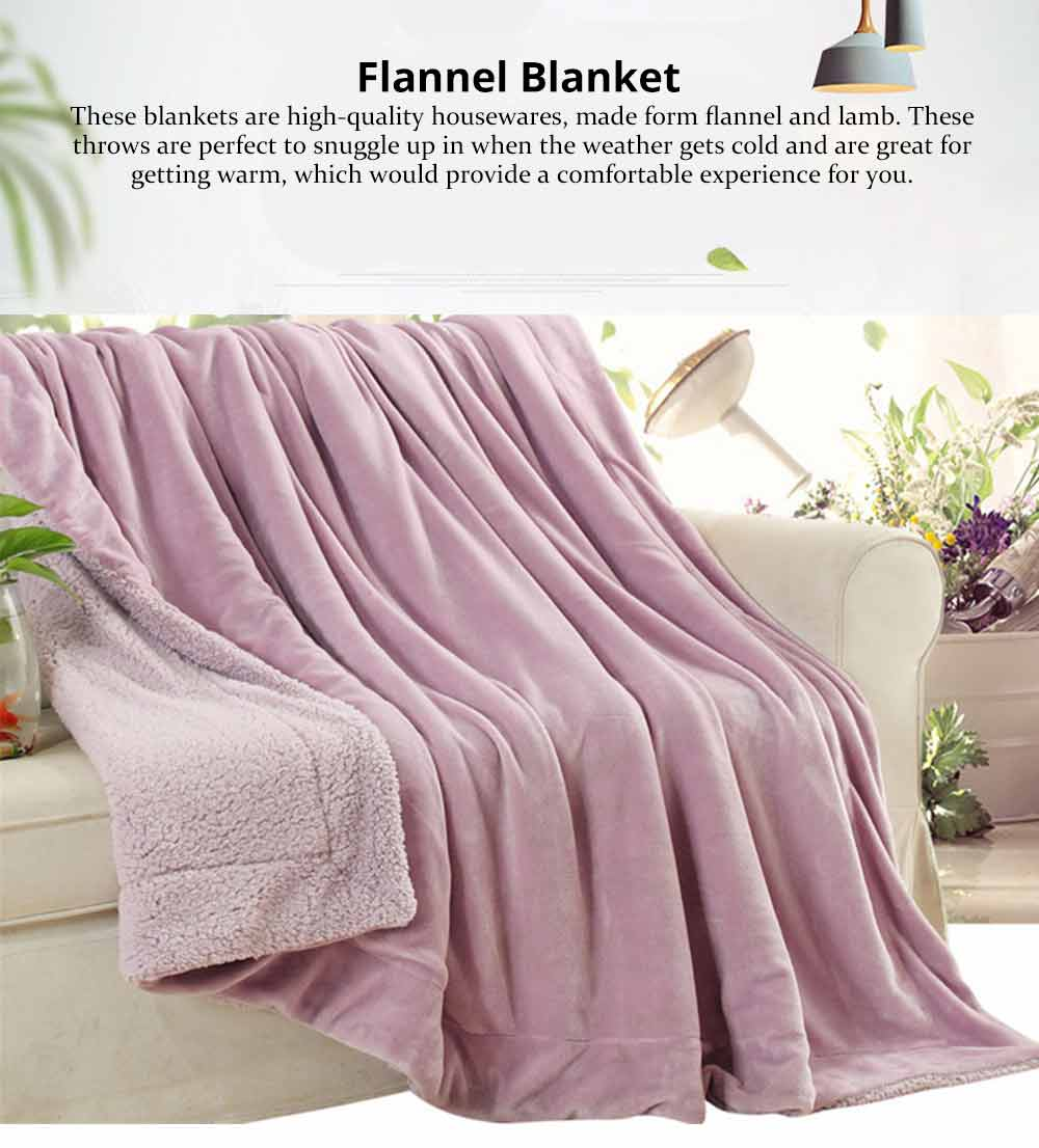 Flannel Blanket Throw - Soft Warm Single Double King Bed Blanket, Throws 6