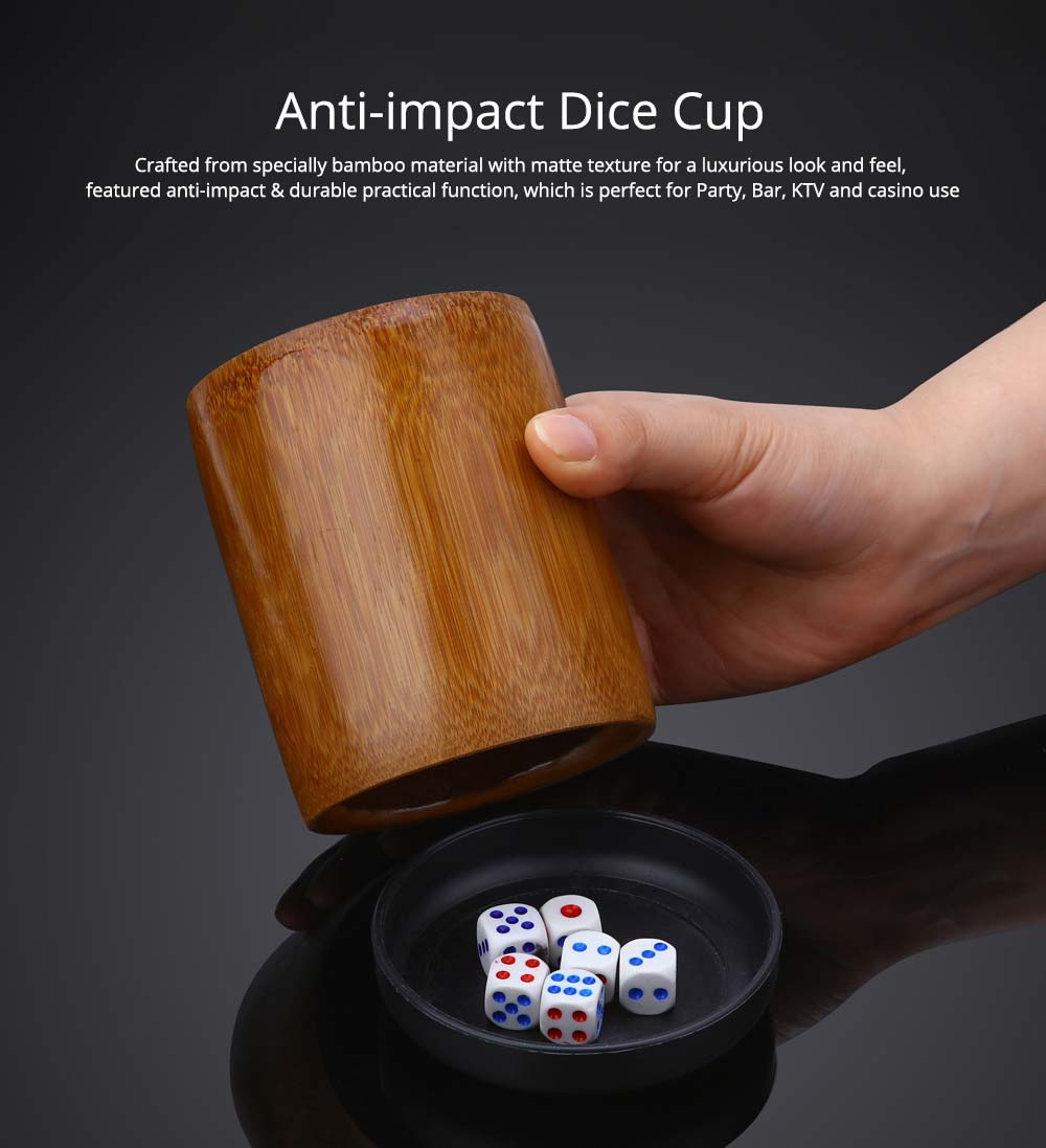 Bamboo Dice Cup Durable Anti-impact Dice Storage, Party Bar KTV and Casino Pub Gambling Poker Game Dice Cup 0