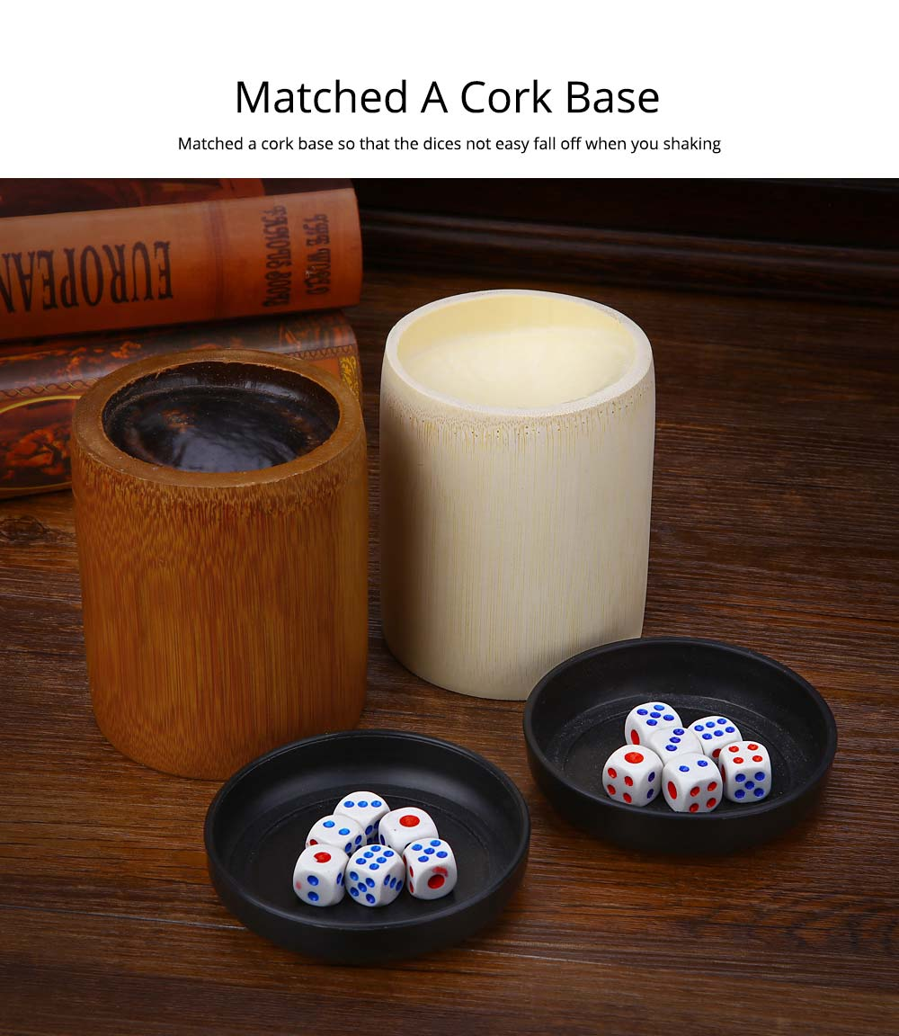 Bamboo Dice Cup Durable Anti-impact Dice Storage, Party Bar KTV and Casino Pub Gambling Poker Game Dice Cup 2
