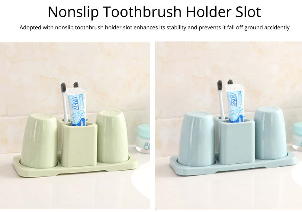 Toothbrush Holder with Cups, Bathroom Toothbrush Cups Organizer Set with Draining Rack for Couples Family Roommates 8