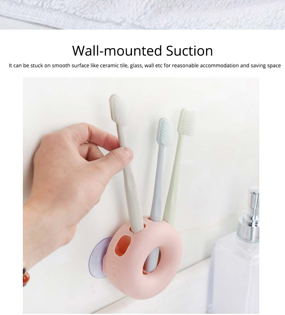 Wall Mounted Toothbrush Holder, Doughnut Shape Toothbrush Organizer, Bathroom No Drill Toothbrush Container 2
