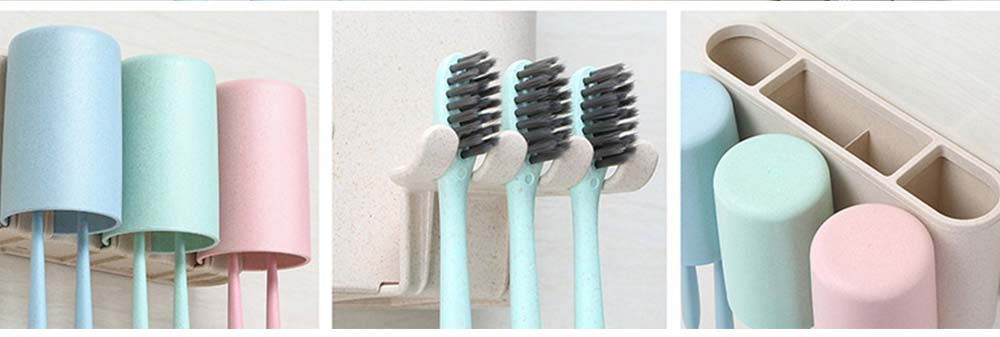 Toothbrush Holder Wall Mounted for Bathroom, Eco-friendly Degradable Wheat-straw Toothbrush Cups Set 9