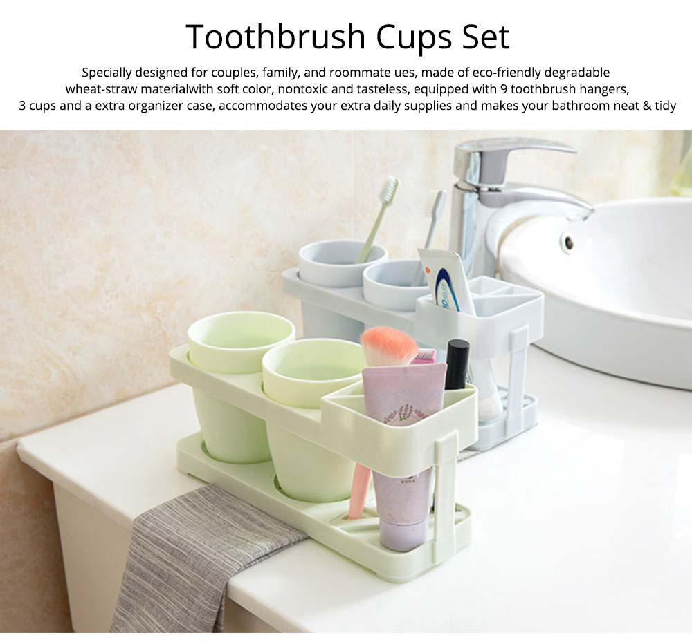 Bathroom Cup Set with Draining Rack, Durable Toothbrush Cup Holder for Bathroom Hotel Traveling Business Trip 0