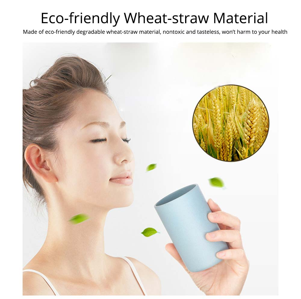 Toothbrush Holder Wall Mounted for Bathroom, Eco-friendly Degradable Wheat-straw Toothbrush Cups Set 1