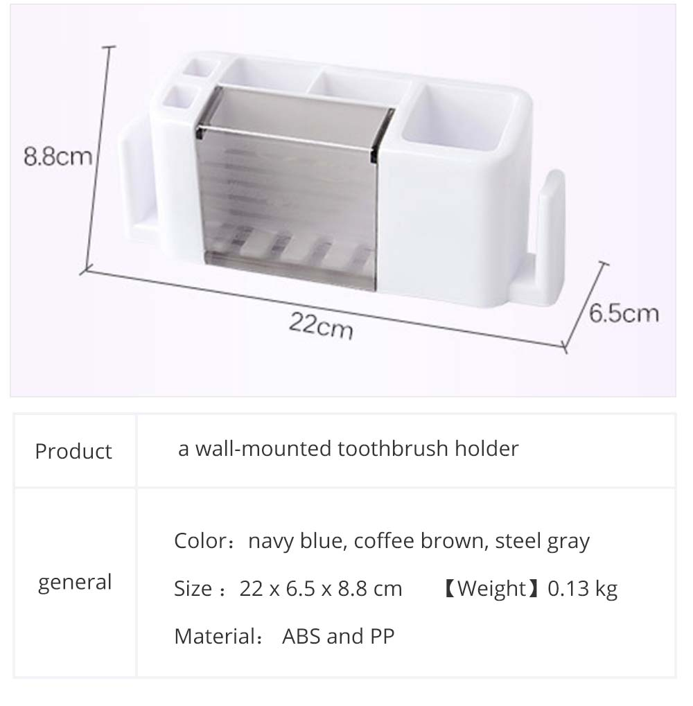 Bathroom Wall-mounted Toothbrush Organizer, Household Comb Toothpaste Shaver Facial Cleaner Toothbrush Storage Holder 6