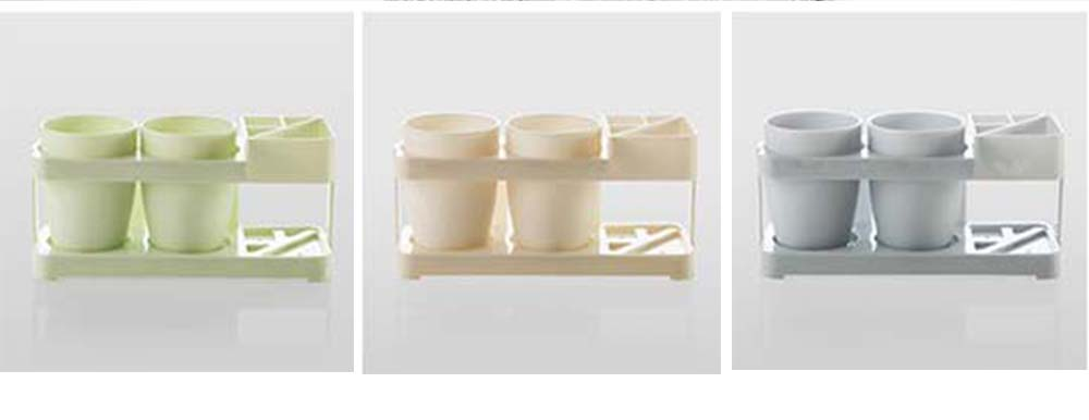 Bathroom Cup Set with Draining Rack, Durable Toothbrush Cup Holder for Bathroom Hotel Traveling Business Trip 7