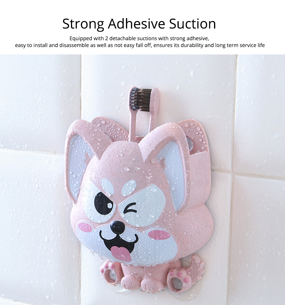Wall Mounted Toothbrush Hanger for Bathroom, Fox Shape Toothbrush Holder for Family Couples Roommates Use 3