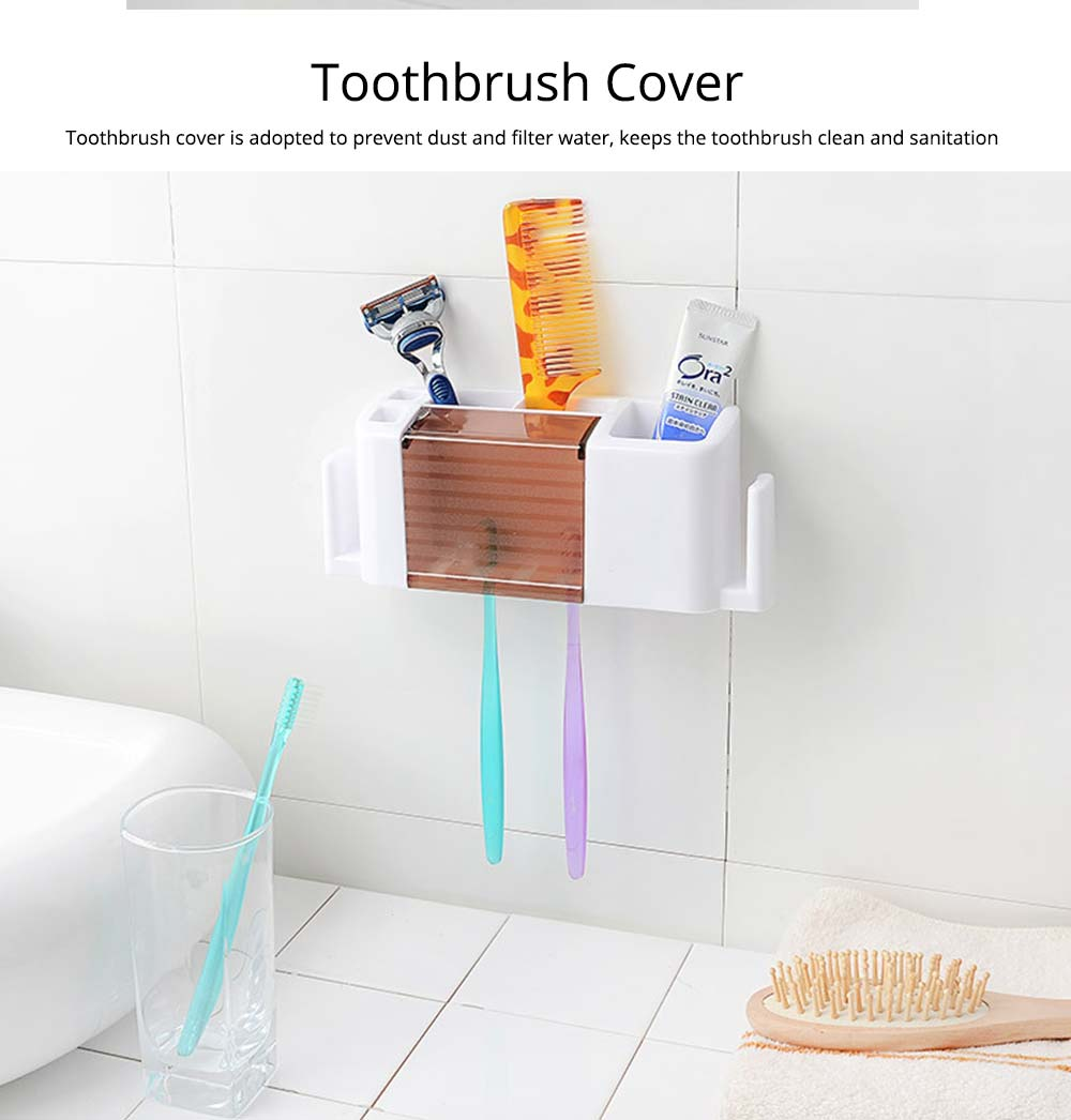 Bathroom Wall-mounted Toothbrush Organizer, Household Comb Toothpaste Shaver Facial Cleaner Toothbrush Storage Holder 3