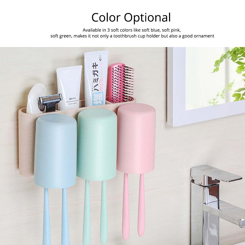 Toothbrush Holder Wall Mounted for Bathroom, Eco-friendly Degradable Wheat-straw Toothbrush Cups Set 8