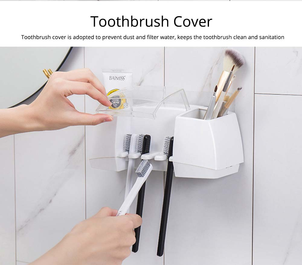 Nail Free Toothbrush Holder, Hanging Toothbrush Organizer for Bathroom, High Bearing Capacity Toothbrush Storage Container 3