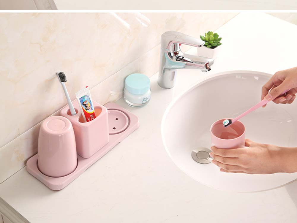 Toothbrush Holder with Cups, Bathroom Toothbrush Cups Organizer Set with Draining Rack for Couples Family Roommates 2