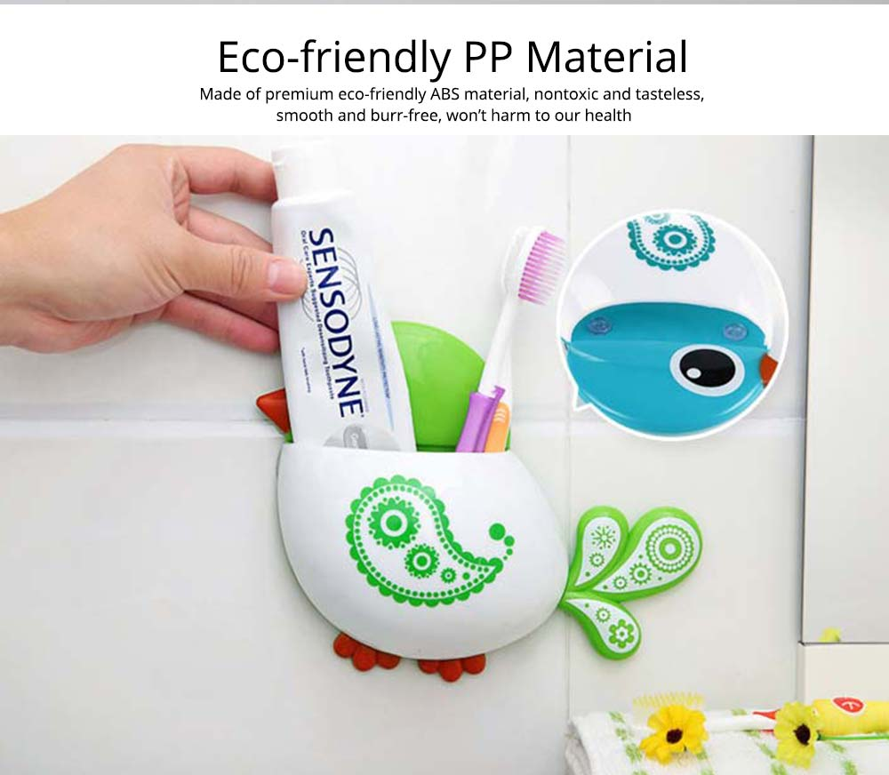 Creative Hanging Toothbrush Holder, Lovely Bird Shape Bathroom Toothbrush Hanger Organizer for Home, Dormitory, Hotel 1