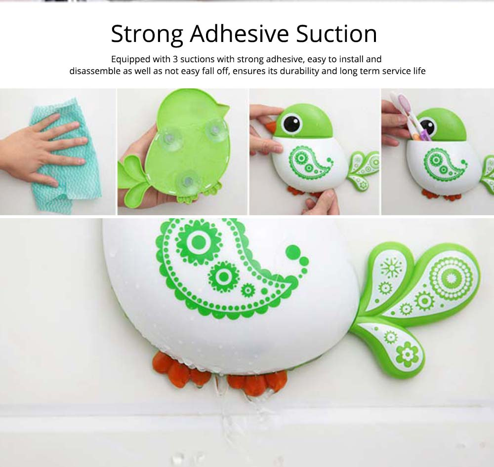 Creative Hanging Toothbrush Holder, Lovely Bird Shape Bathroom Toothbrush Hanger Organizer for Home, Dormitory, Hotel 4