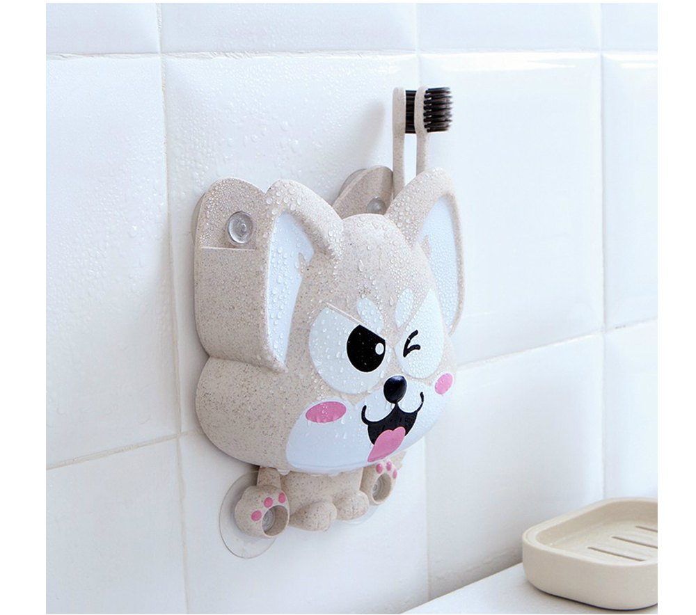 Wall Mounted Toothbrush Hanger for Bathroom, Fox Shape Toothbrush Holder for Family Couples Roommates Use 7