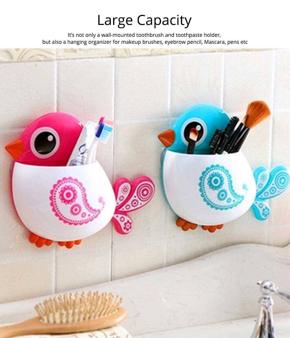 Creative Hanging Toothbrush Holder, Lovely Bird Shape Bathroom Toothbrush Hanger Organizer for Home, Dormitory, Hotel 6
