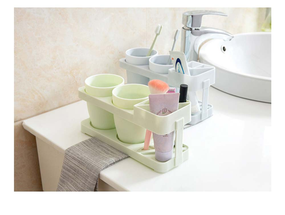 Bathroom Cup Set with Draining Rack, Durable Toothbrush Cup Holder for Bathroom Hotel Traveling Business Trip 5