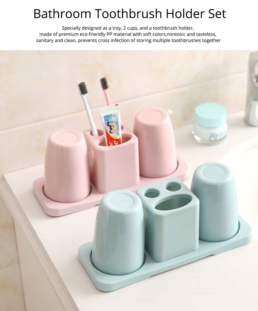 . Toothbrush Holder with Cups  Bathroom Toothbrush Cups Organizer Set with  Draining Rack for Couples  Family  Roommates